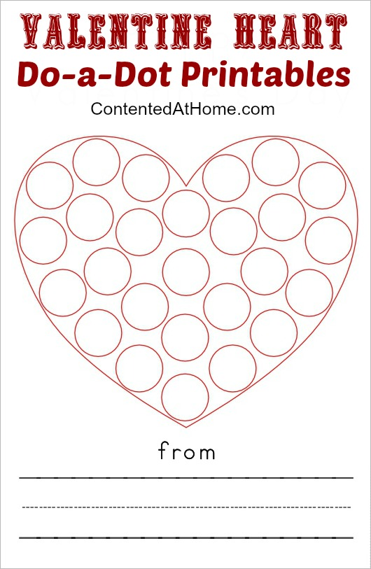 Do-a-Dot Printables: Valentine Hearts   Contented at Home