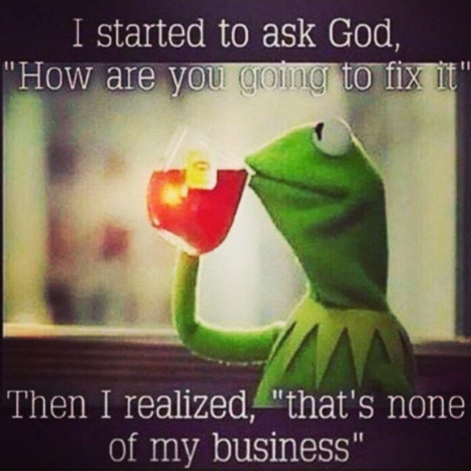 "a picture of kermit the frog drinking lemonade and the quote reads ""I started to ask God how are you going to fix it then I realized that's none of my business"""