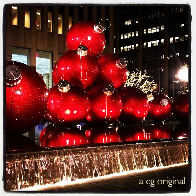 A Contented Gypsy original photo of the Red Christmas Ornament Balls outside Rockefeller Center