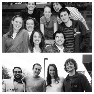 Chelsey and some of her college friends. A before and after photo taken 8 years apart.
