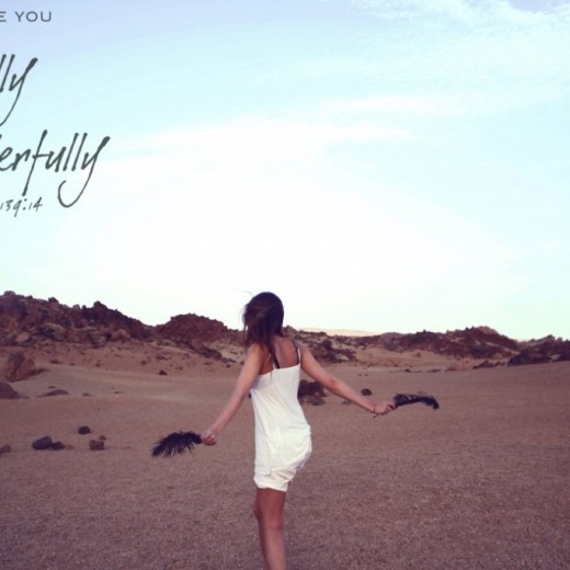 Woman dancing on the beach with a Psalm 139:14 overlay.