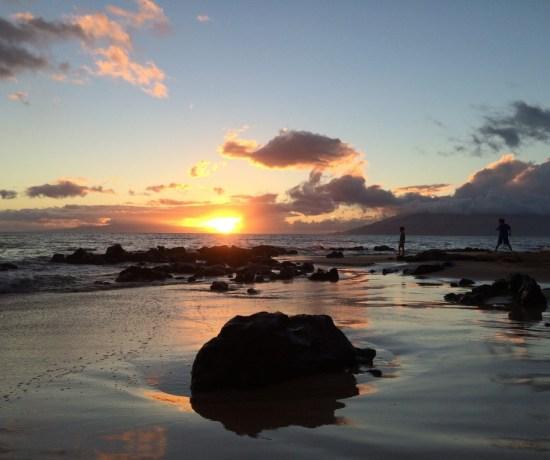 Sunsetting on the beach.
