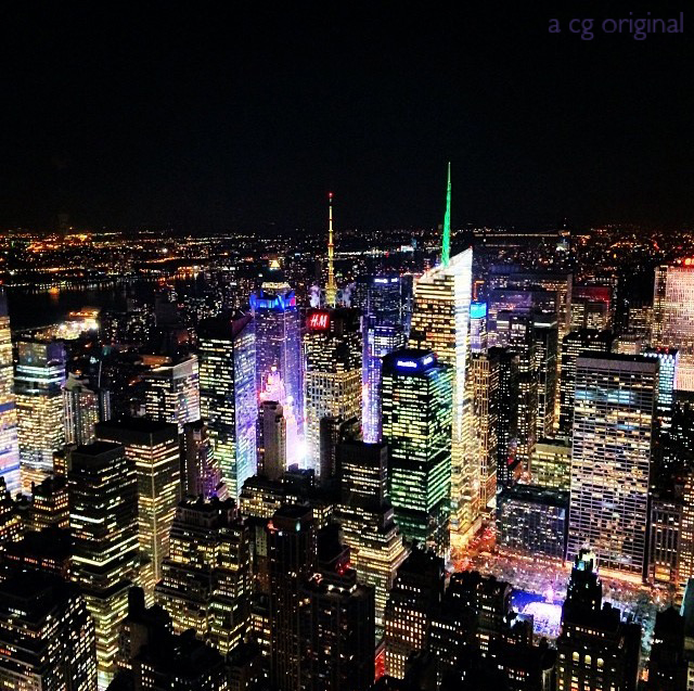 view of times square from the empire state building