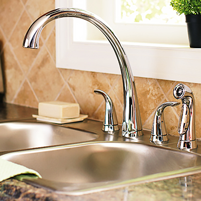 to install a two handle kitchen faucet
