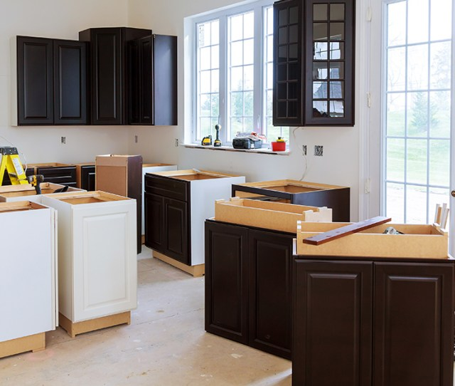Uninstalled Kitchen Cabinets Ready To Be Inspected