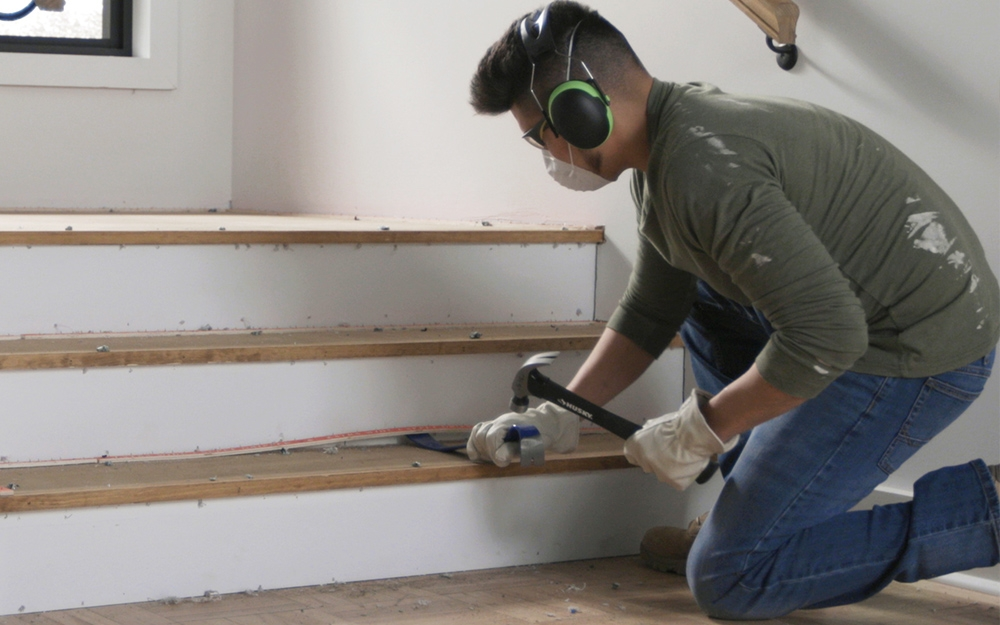 How To Remove Carpet From Stairs The Home Depot | Carpet Strips For Steps | Border | Carpeted | Adhesive | Builder Grade | Victorian