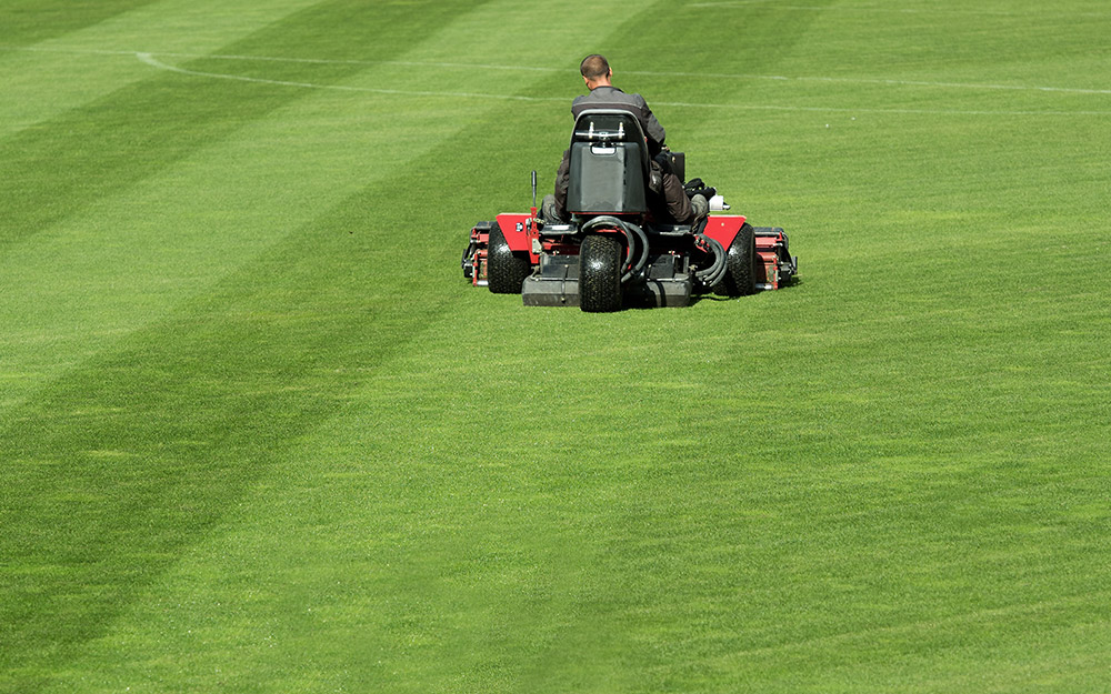 Person using a riding mower to stripe a lawn.
