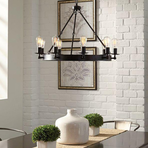 Brown Drum Pendant Light