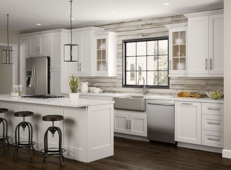 Newport Pantry Cabinets In Pacific White Kitchen The Home Depot