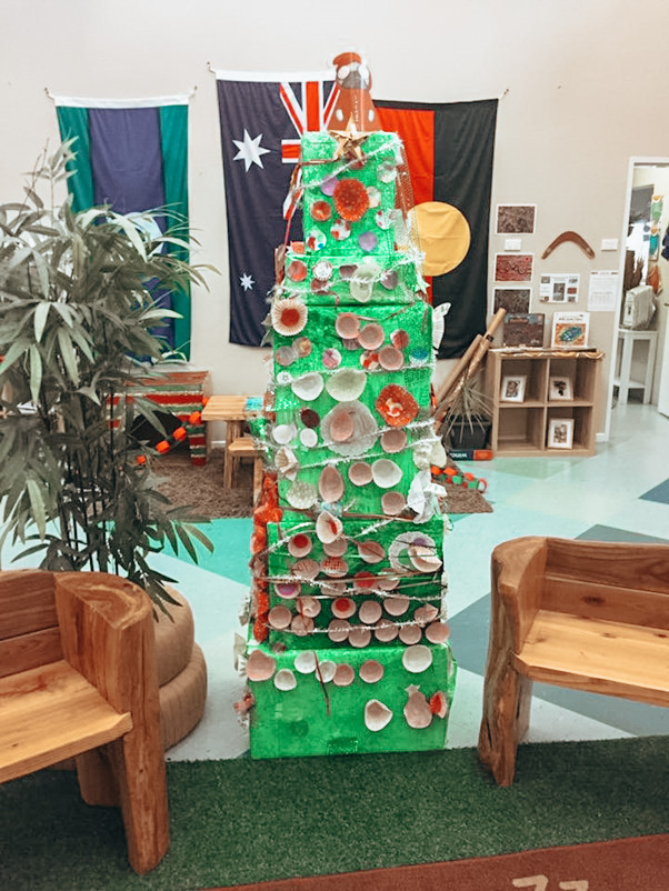 christmas trees made of boxes