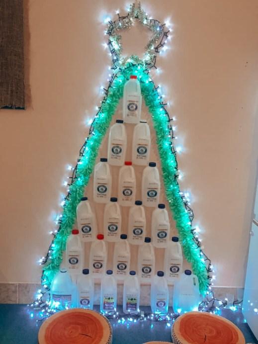 christmas tree made with milk cartons