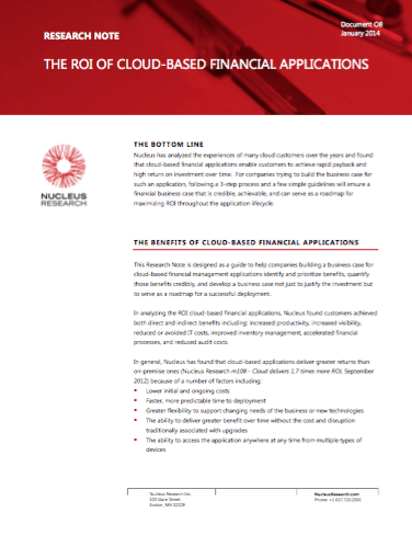 The ROI of Cloud Based Financial Applications