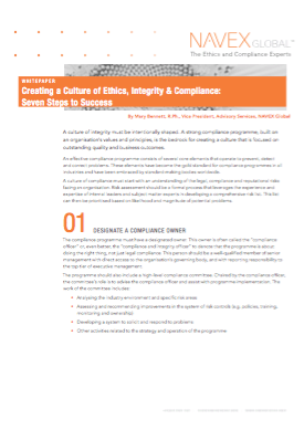 Creating a Culture of Ethics, Integrity & Compliance: Seven Steps to Success