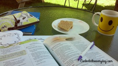 Bible study material with a morning snack