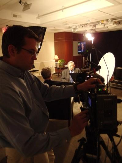 Kyle Nicholoff filming former Deputy Secretary of Defense Paul Wolfowitz Interview