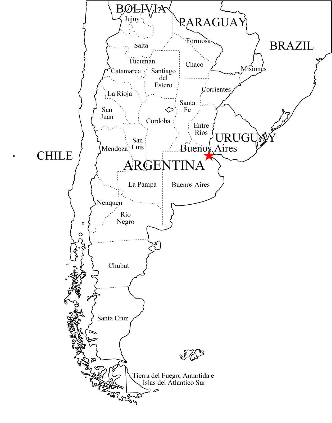 Mapa Politico De Argentina Para Imprimir Mapa De