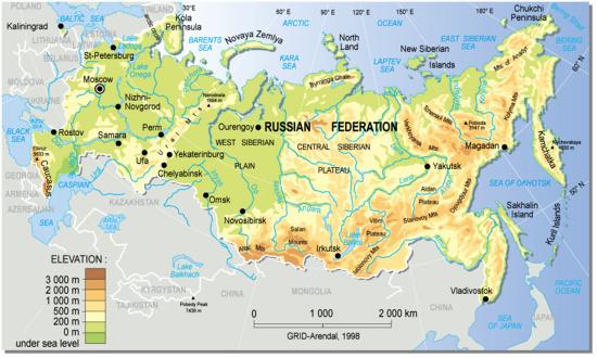 Mapa para imprimir de Rusia Mapa físico de Rusia. GRID ...