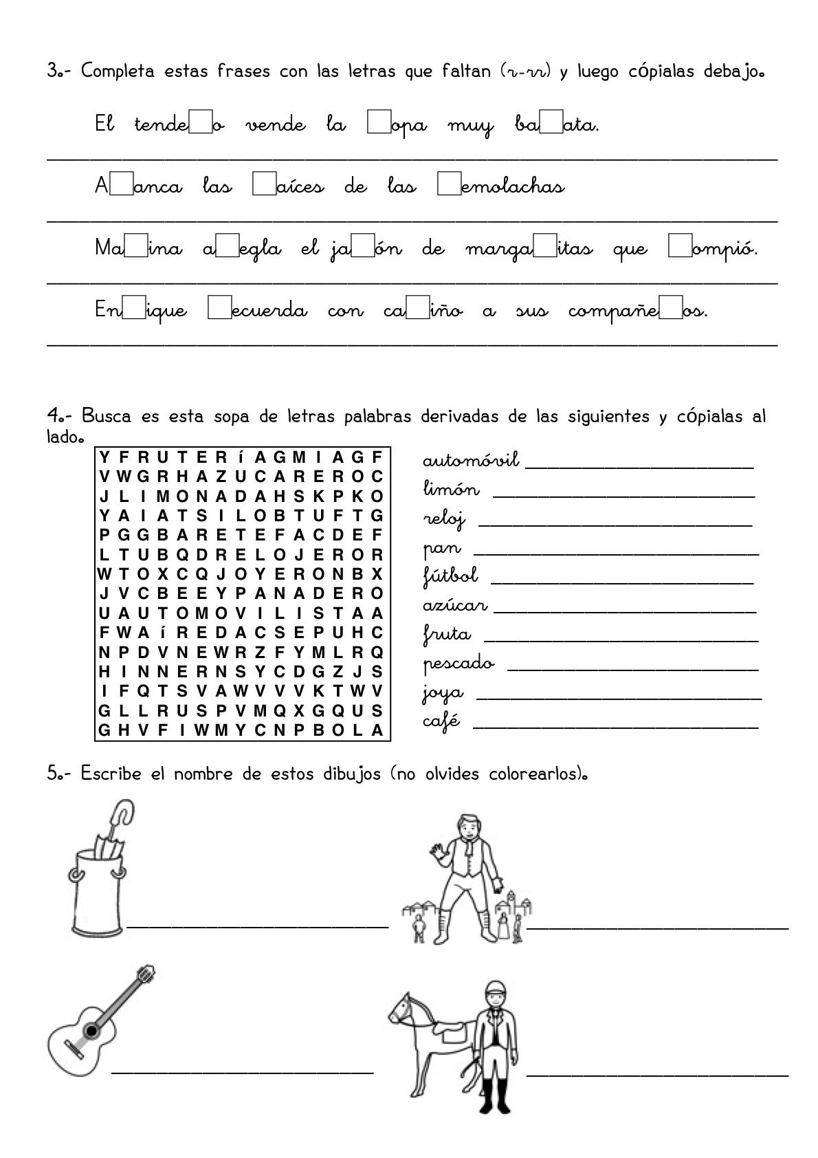 26 Fichas De Repaso De Lengua Y Matematicas 3o De Primaria