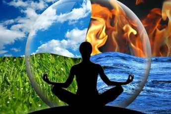 person-lotus position-four elements background