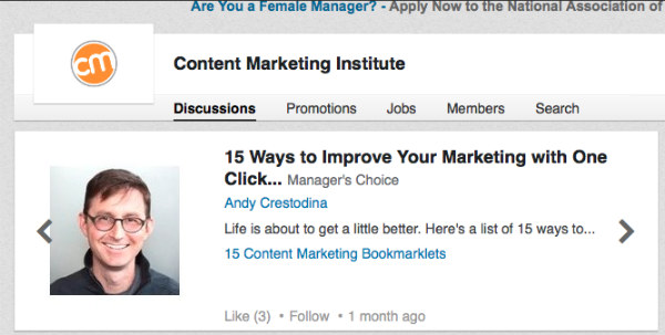example-content marketing institute on linkedin