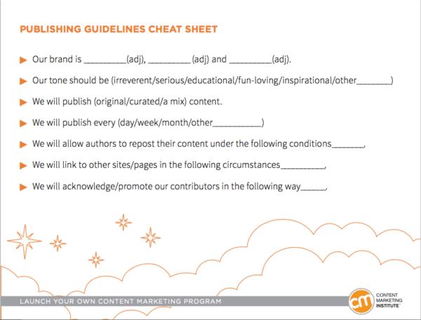 publishing guidelines cheat sheet