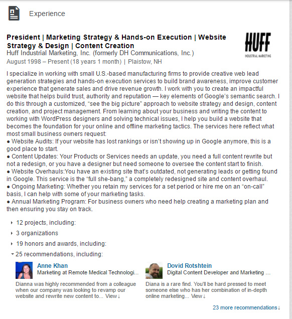 dianna-huff-experience-linkedin-example