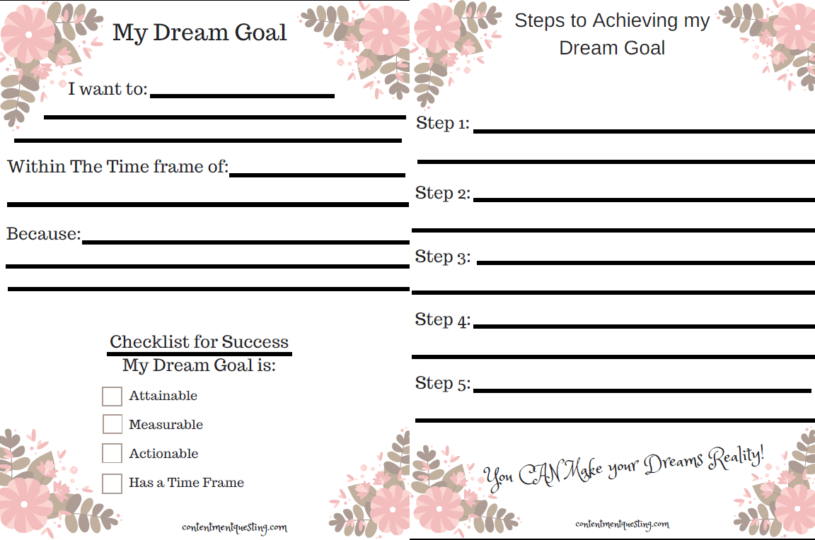 follow your dreams, pursue your dreams, inspiration, worksheet