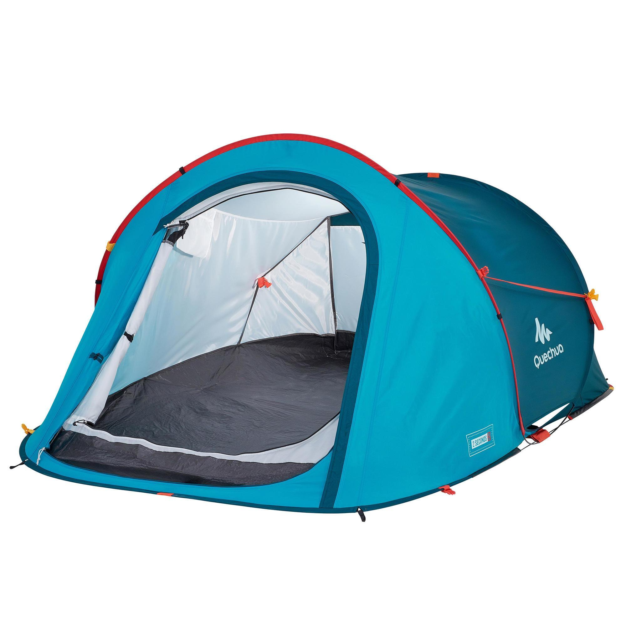 tente de camping 2 seconds bleue 2 personnes