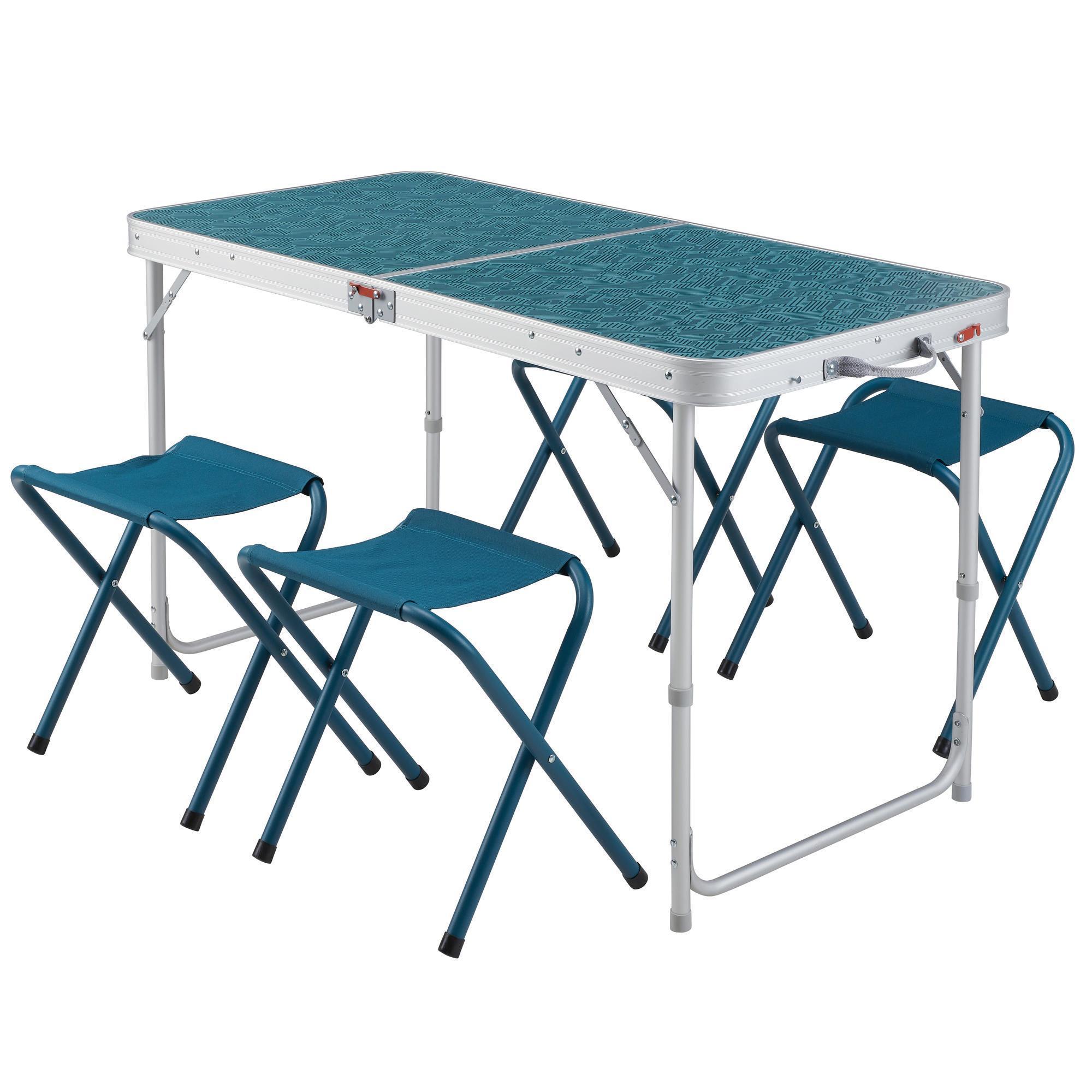 table de camping pliante avec 4 tabourets