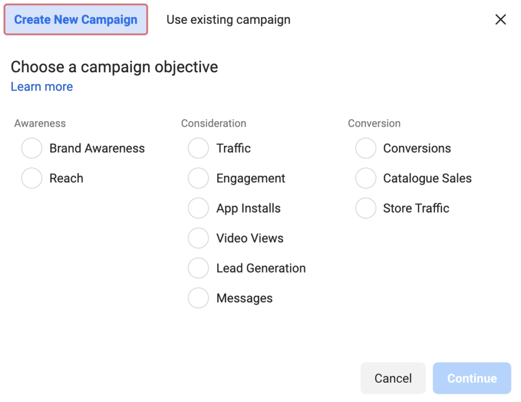 Choose a campaign objective (Facebook Ads)
