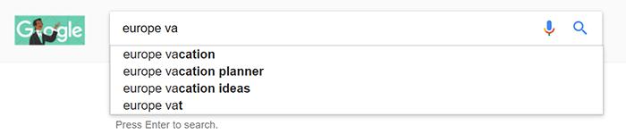 screenshot of Google Suggest