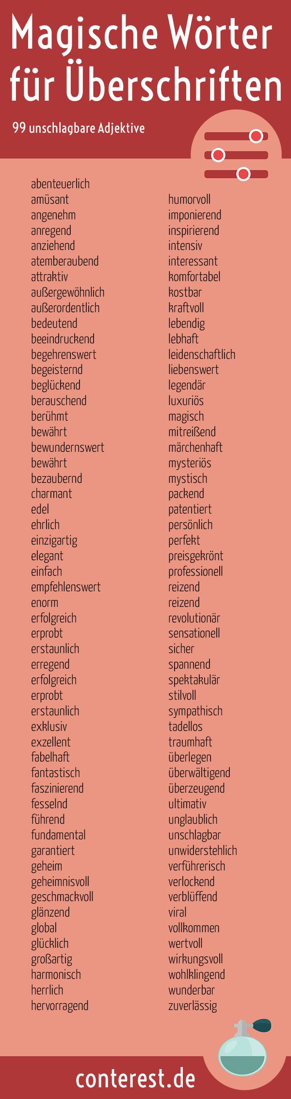 Wörter für Überschriften Infografik