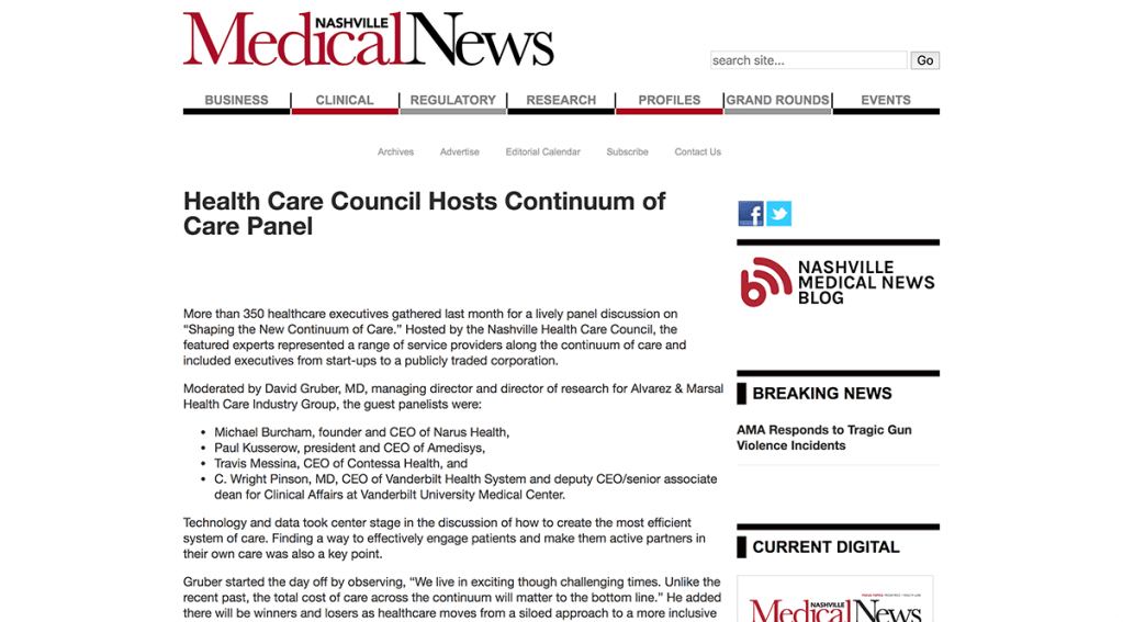 Health Care Council Hosts Continuum of Care Panel - Nashville Medical News