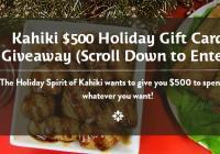 Kahiki's $500 Holiday Gift Card Giveaway