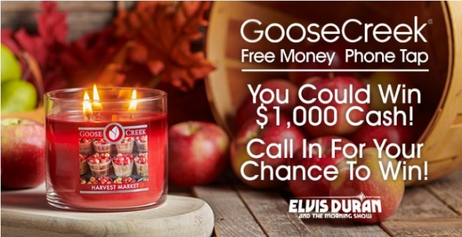 Goose Creek Candles Free Money Phone Tap Sweepstakes