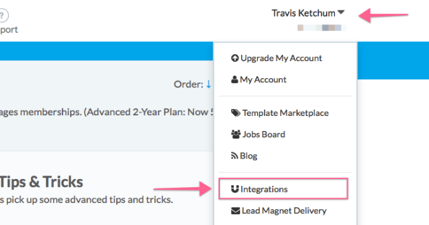 LeadPages Integrations Menu