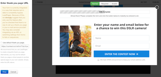 LeadPages Set Redirect URL