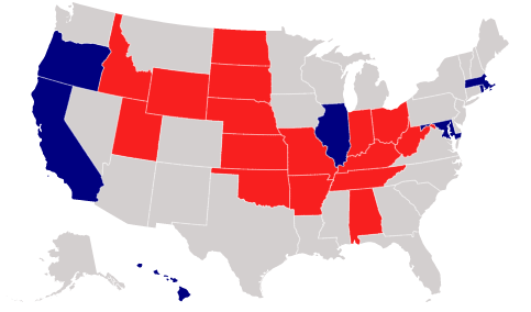 A map of the US showing veto-proof states after the 2018 midterms. 7 states have Democratic majorities and 16 states have Republican majorities.