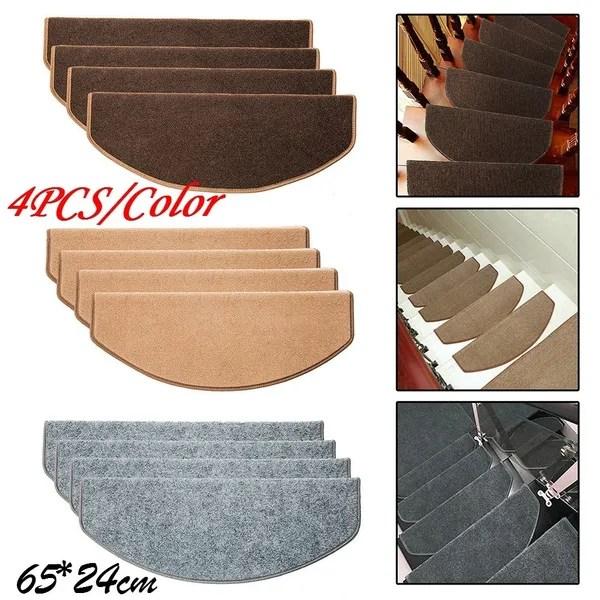4Pcs Set Non Slip Self Adhesive Carpet Stair Tread Mat Home | Self Stick Stair Treads | Slip Resistant | Modern | Vinyl Covered | Contemporary | Pad