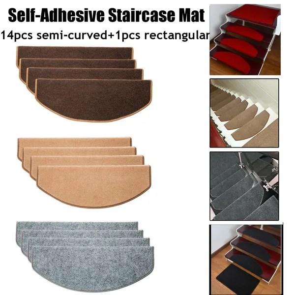 15Pcs Stair Tread Carpet Mats Step Staircase Non Slip Mat | Protecting Carpet On Stairs | Stair Treads Carpet | Carpet Mats | Non Slip Mat | Self Adhesive | Flooring