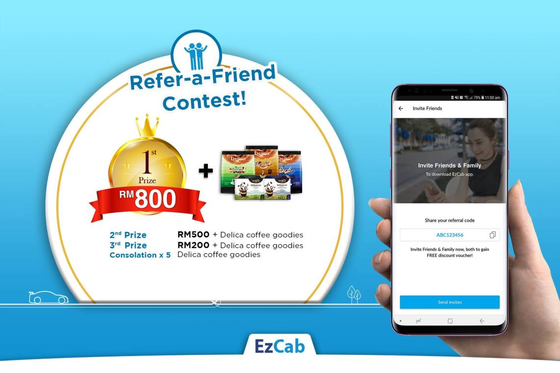 Refer-A-Friend To EzCab & Win Cash Prizes Up To RM1,500!