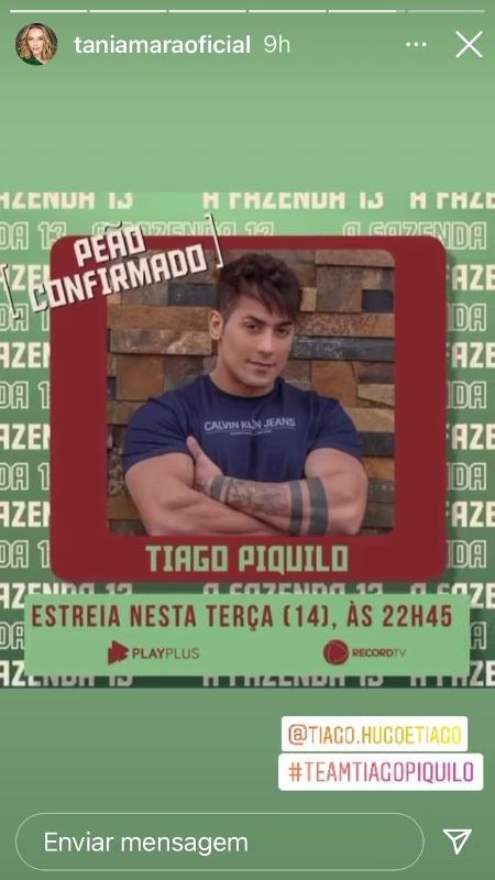 Tânia Mara declares she supports Tiago - Reproduction/Instagram - Reproduction/Instagram