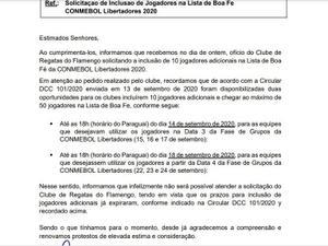 Conmebol nega inscrição de mais 10 jogadores do Flamengo na Libertadores - Reprodução - Reprodução