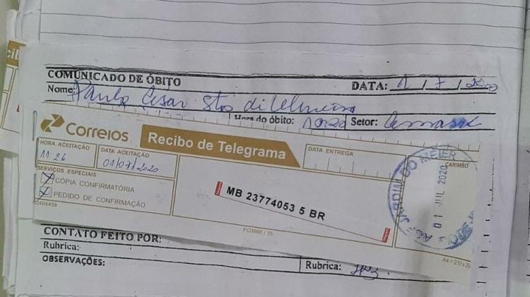 Secretaria Municipal de Saúde enviou telegrama para a família comunicando a morte de Paulo - Assessoria de Comunicação da Secretaria Municipal de Saúde do Rio de Janeiro - Assessoria de Comunicação da Secretaria Municipal de Saúde do Rio de Janeiro