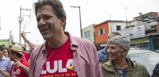 Olga Curado (dir.) acompanha Haddad em agenda de campanha no dia 4 de setembro