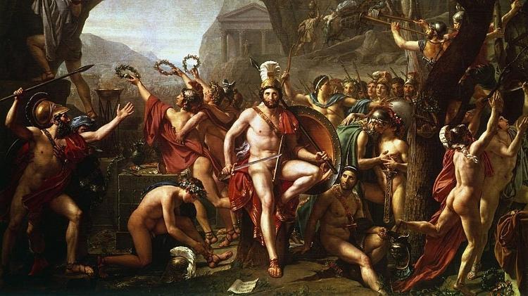 Representação da Batalha das Termópilas por Jacques-Louis David (1748-1825); episódio alçou modelo ideal dos espartanos como grandes guerreiros - Getty Images/BBC