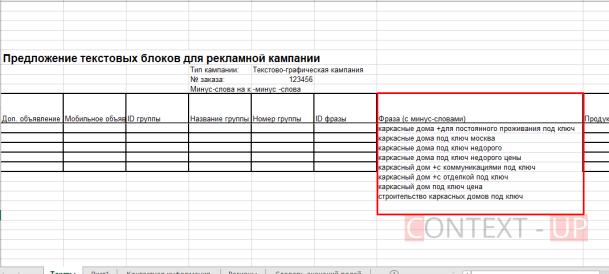 Ключи в шаблоне для Яндекс Директа