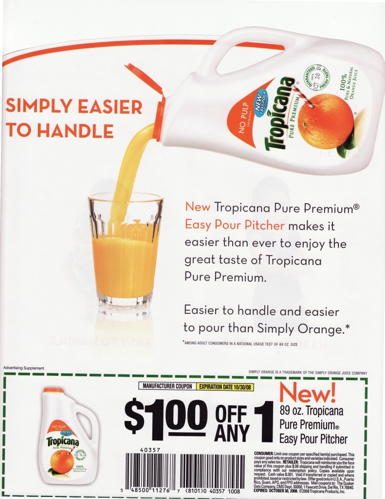 Tropicana advert stating that the new bottle is easier to handle, since it has a handle.
