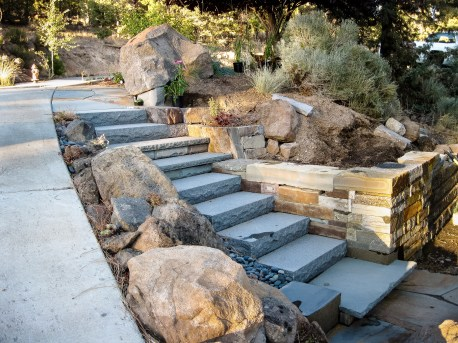 Eric Contey Stonework - Masterson entry stairs and retaining wall