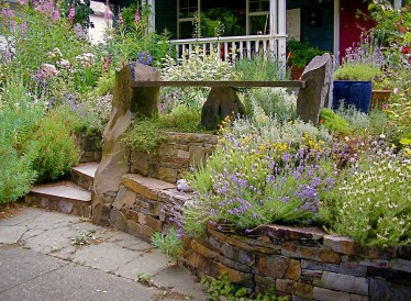 Eric Contey Stonework - Whitten wall, bench and stairs